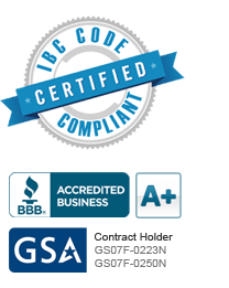Certified IBC Code Compliant, BBB A+, GSA Contract Holder GS07F-0223N and GS07F-0250N