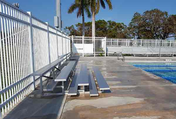 bleachers by pool